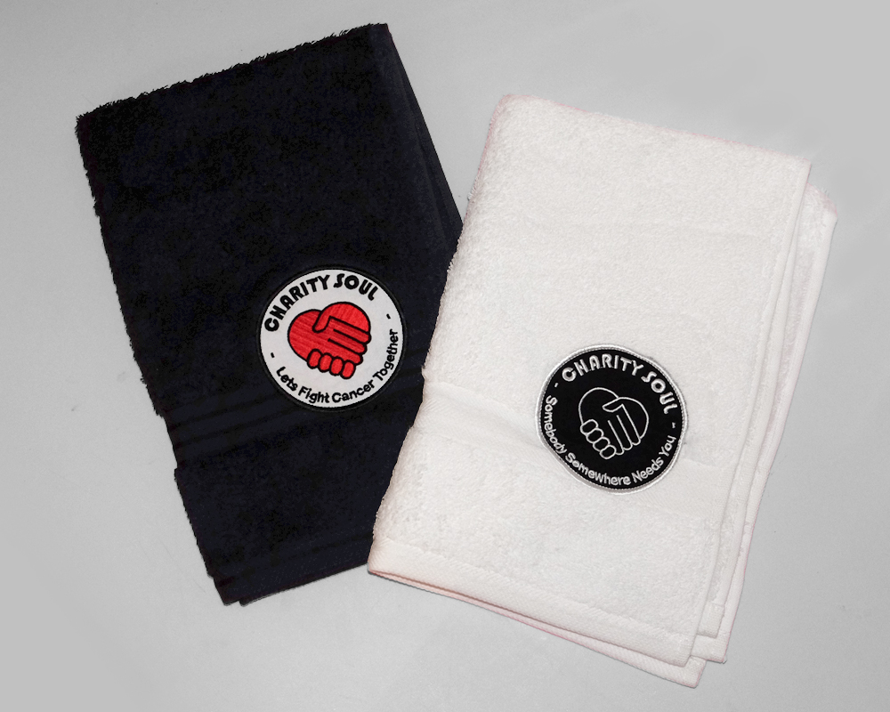 Charity Soul Sweat Towels Black / White